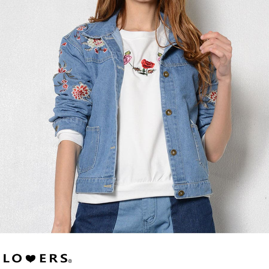 夏新作 刺繍デニムジャケット アウター デニム ジャケット 刺繍 花柄 フラワー レディース 1