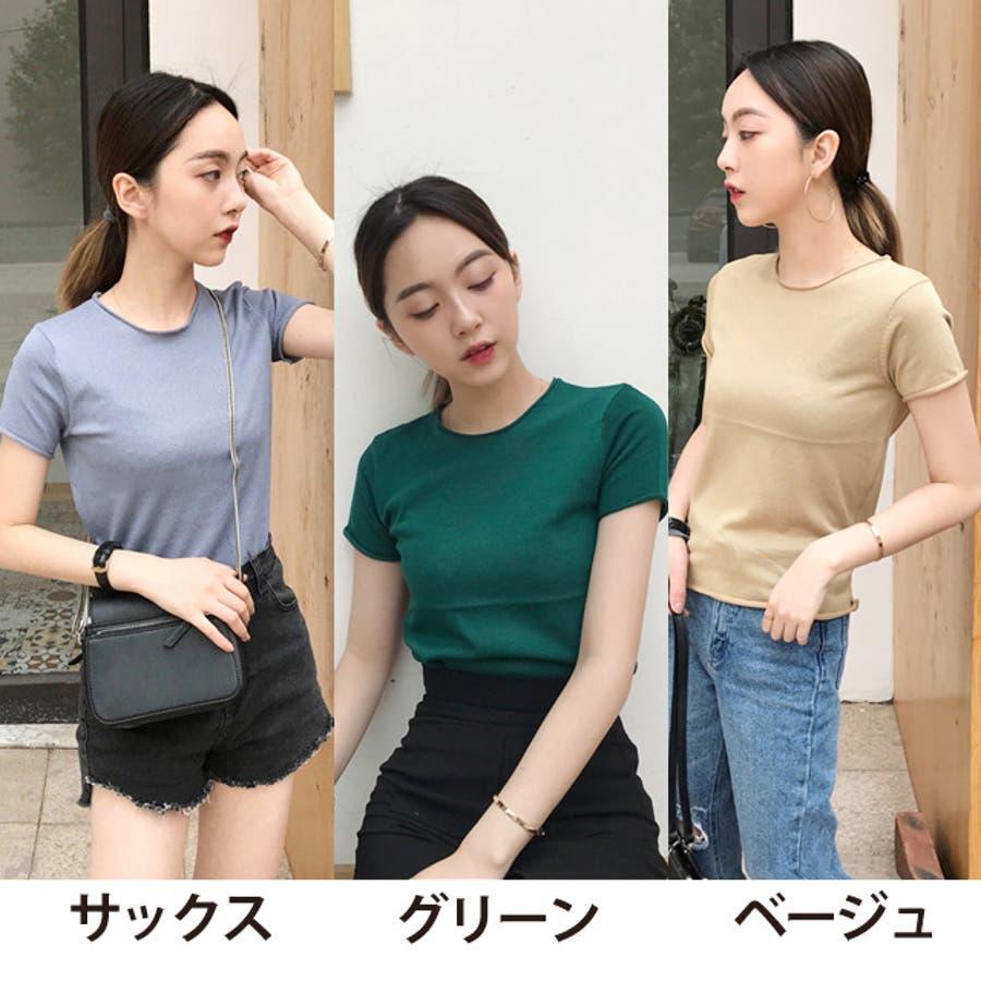 秋新作 薄手ニットトップス ma トップス カットソー レディース 薄手 Tシャツ シンプル 10