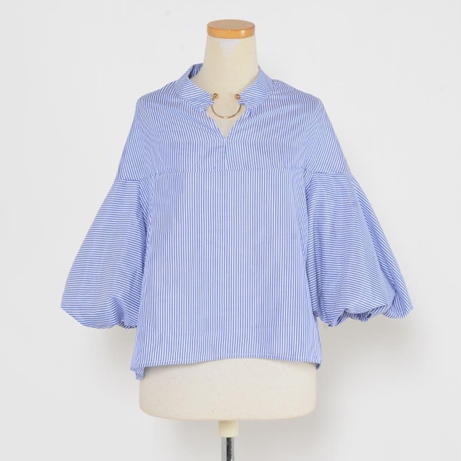 秋新作 バルーンスリーブリング付きシャツ ma トップス シャツ レディース リング バルーンスリーブ パフスリーブ 3