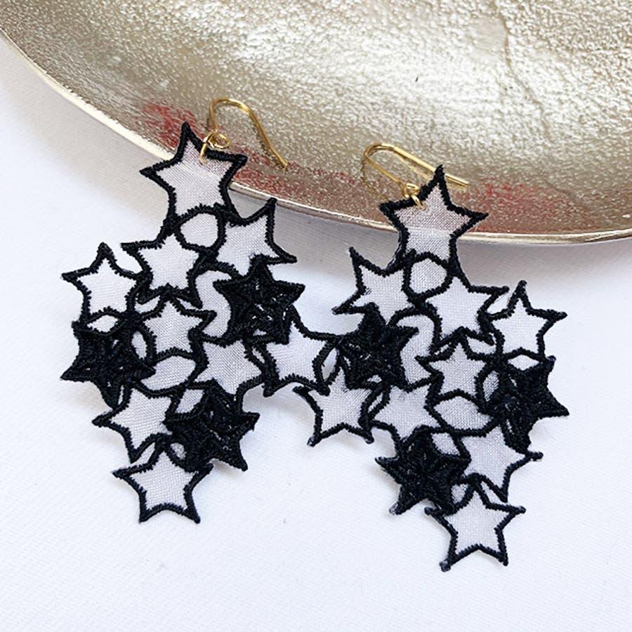 秋新作 スター刺繍ピアス ma アクセ アクセサリー ピアス 刺繍 イヤリング シンプル 個性的 星 スター レディース韓国ファッション シースルー 日本製 オーガンジー 5