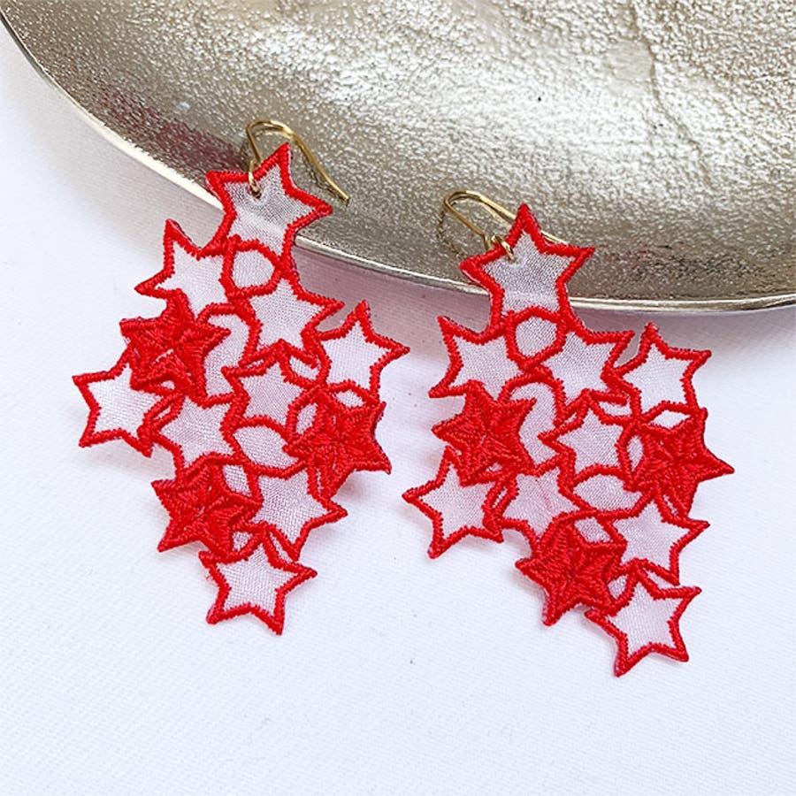 秋新作 スター刺繍ピアス ma アクセ アクセサリー ピアス 刺繍 イヤリング シンプル 個性的 星 スター レディース韓国ファッション シースルー 日本製 オーガンジー 7