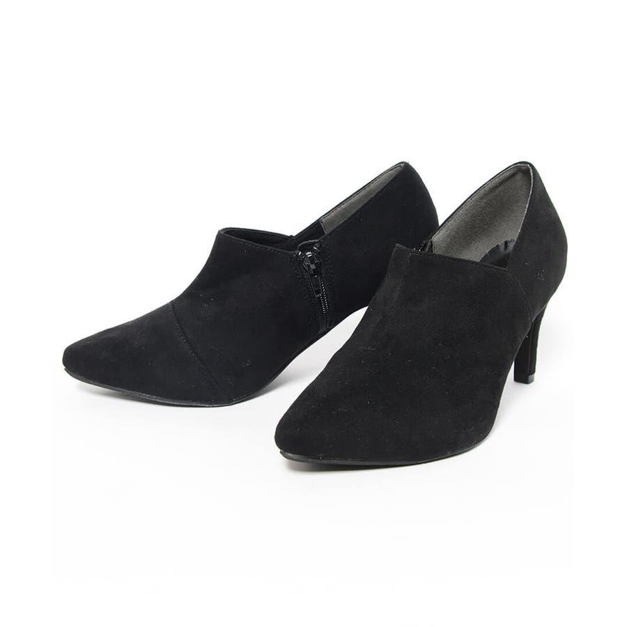 秋新作 アンクルカットショートブーツ 靴 シューズ ブーツ ショートブーツ ブーティ アンクル シンプル 8.0cm レディースヒール 2