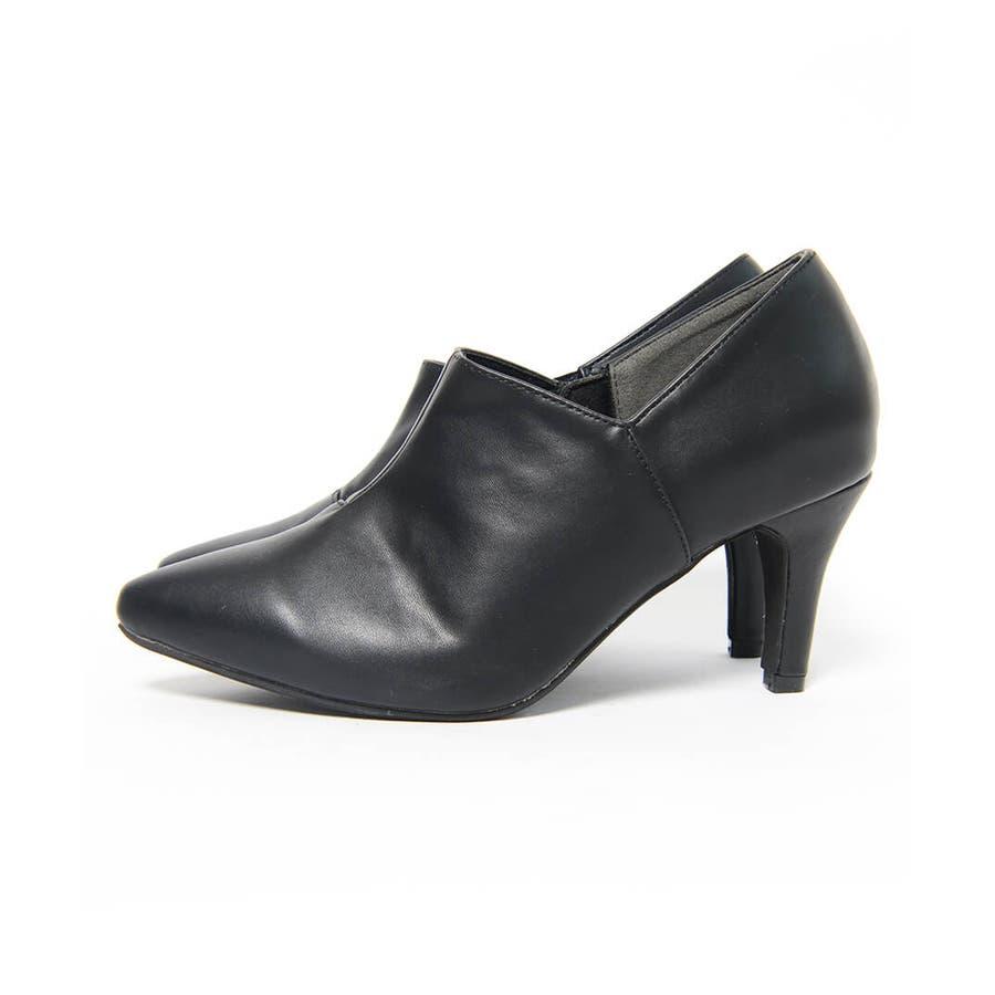 秋新作 アンクルカットショートブーツ 靴 シューズ ブーツ ショートブーツ ブーティ アンクル シンプル 8.0cm レディースヒール 4