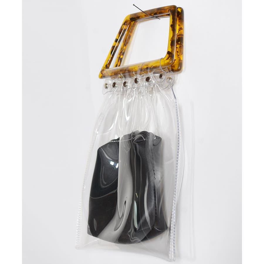 秋新作 鼈甲ハンドルpvcバッグ バッグ レディース クリアバッグ PVCバッグ PVC素材 シンプル ポーチ付き 5