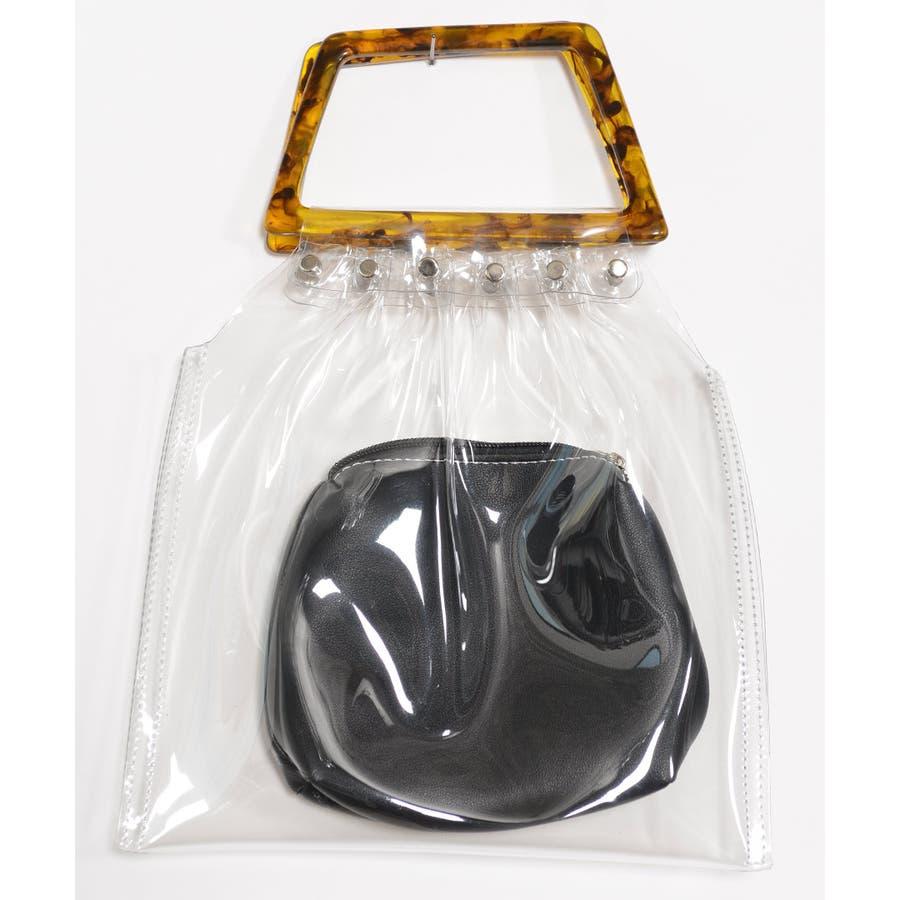 秋新作 鼈甲ハンドルpvcバッグ バッグ レディース クリアバッグ PVCバッグ PVC素材 シンプル ポーチ付き 6