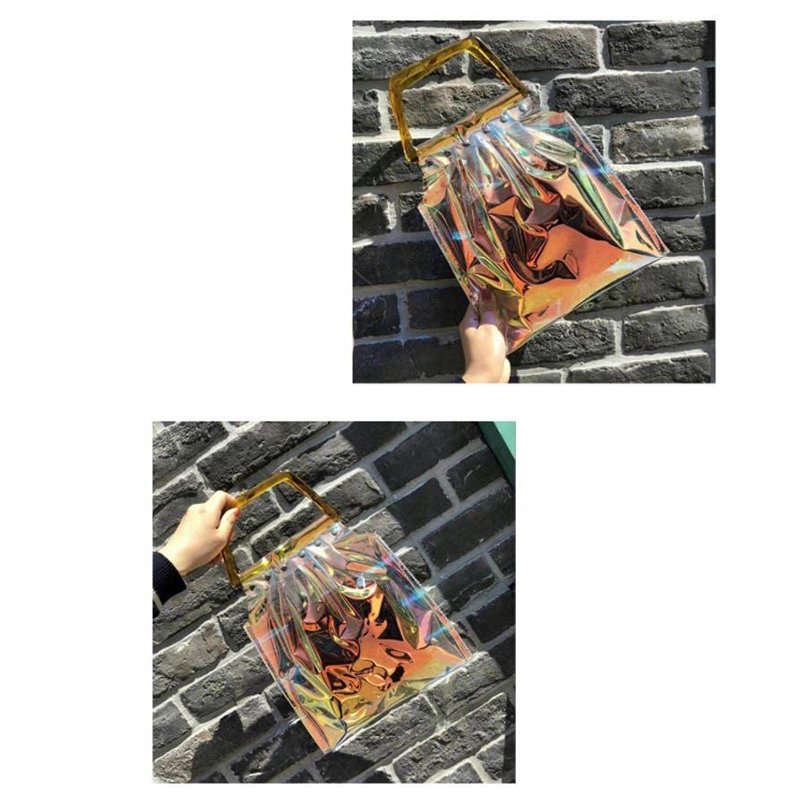 秋新作 鼈甲ハンドルpvcバッグ バッグ レディース クリアバッグ PVCバッグ PVC素材 シンプル ポーチ付き 3