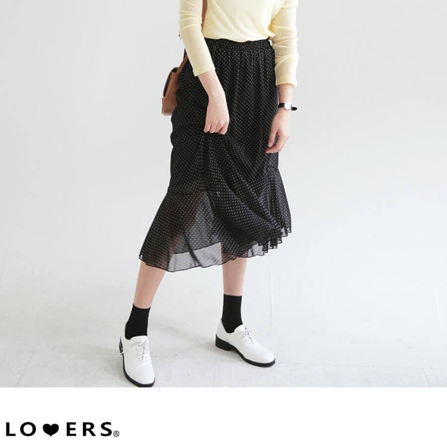 春新作 ドット柄シフォンスカート ma 1