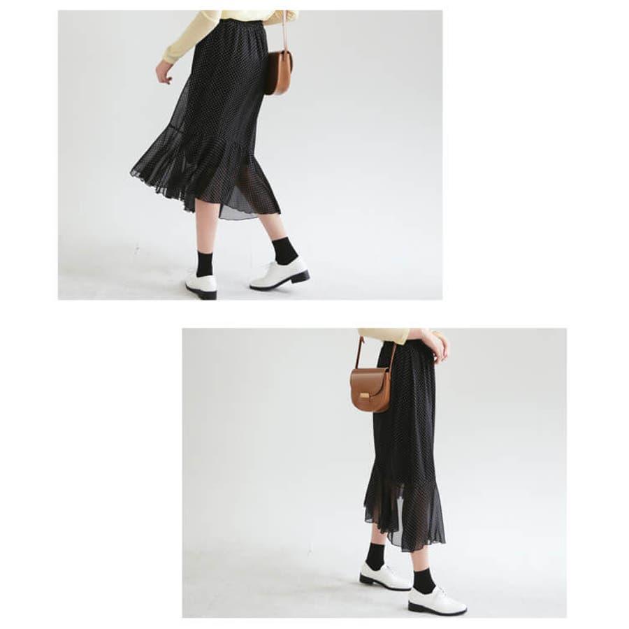 春新作 ドット柄シフォンスカート ma 8