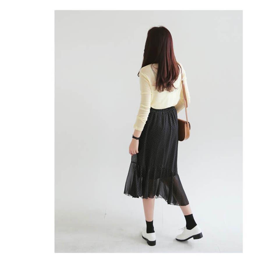 春新作 ドット柄シフォンスカート ma 9