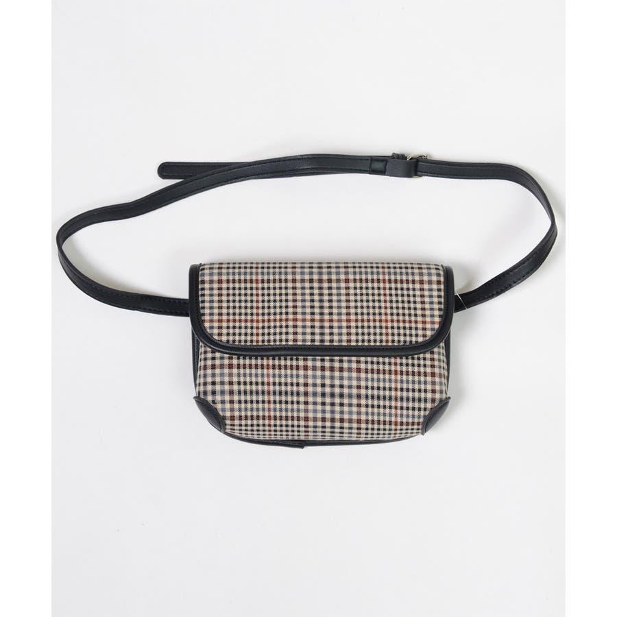 秋新作 グレンチェックマルチバッグ バッグ ショルダー ウエスト サコッシュ グレンチェック コンパクト ミニバッグ 鞄トレンドレディース 韓国ファッション 9