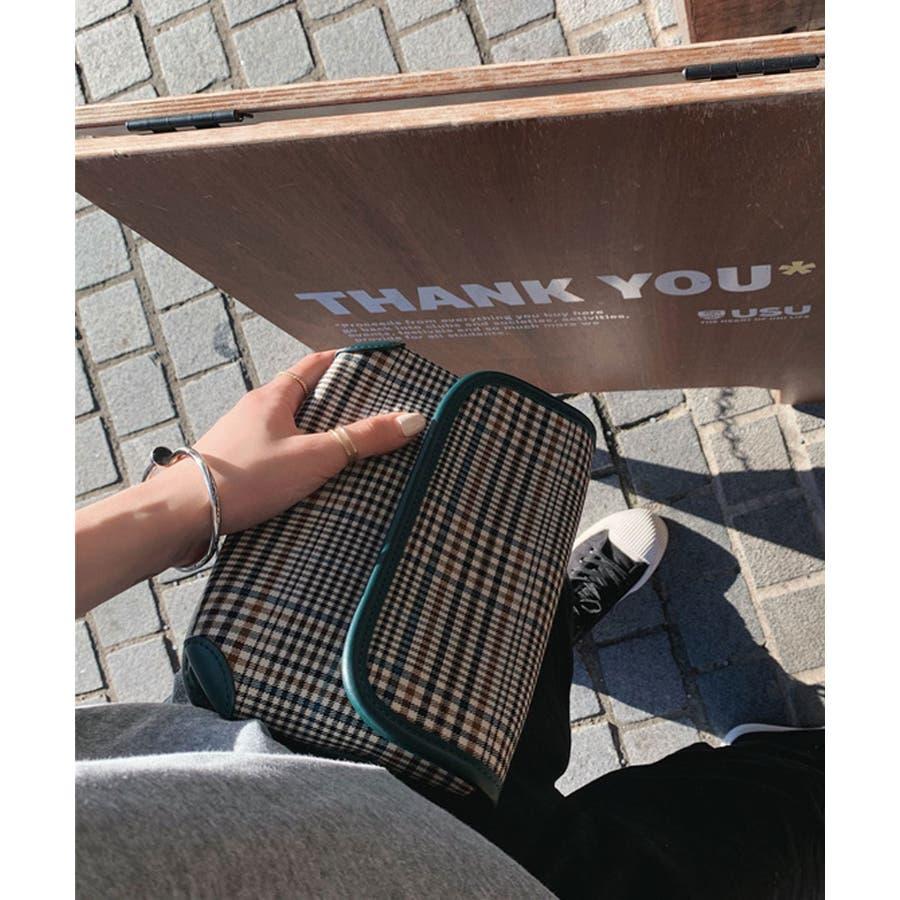 秋新作 グレンチェックマルチバッグ バッグ ショルダー ウエスト サコッシュ グレンチェック コンパクト ミニバッグ 鞄トレンドレディース 韓国ファッション 5