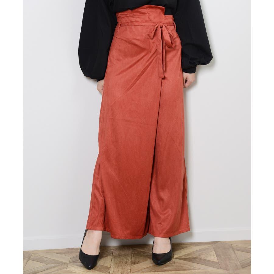 秋新作 フェイクスエードラップパンツ ボトムス パンツ ラップパンツ リボン スエード ワイドパンツ シンプルブラウンレディース韓国ファッション 135