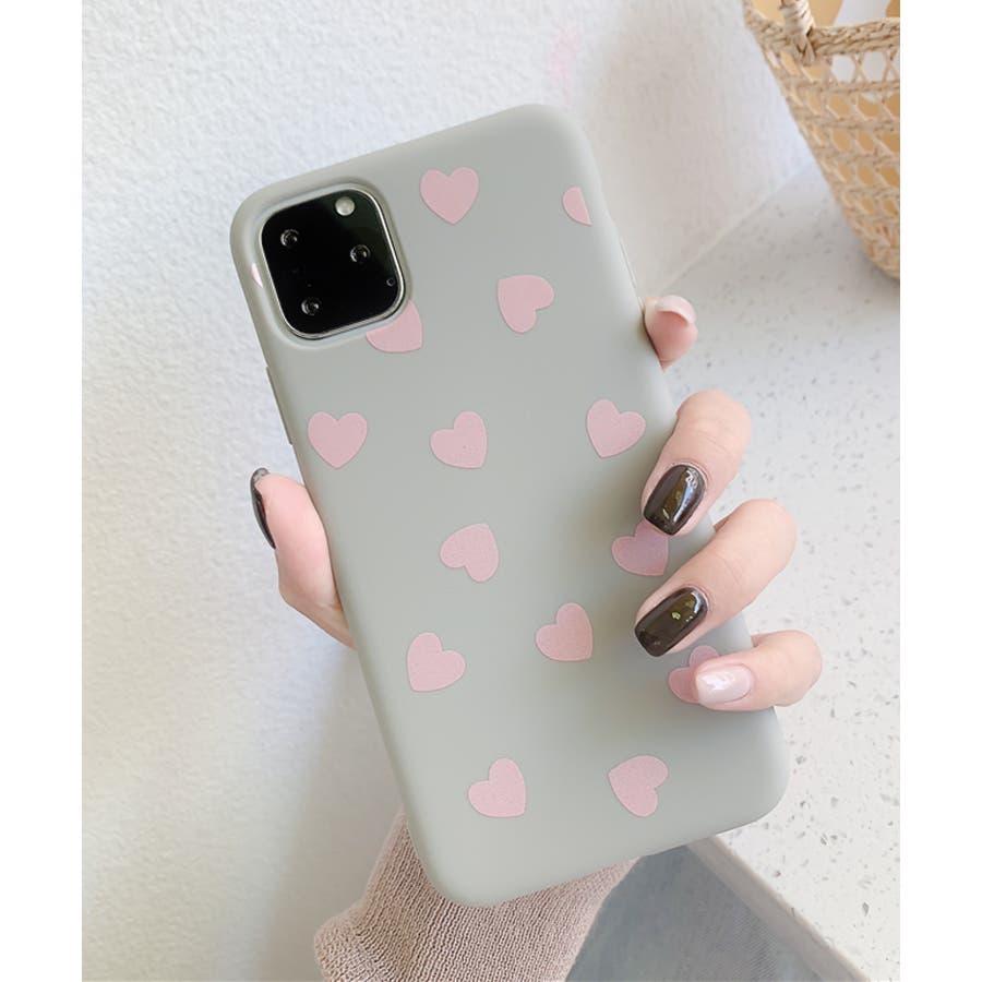 秋新作 ハート柄スマホケース 小物 スマホケース iPhone 7 11 X XS ハート シリコン ソフトレディース韓国ファッション 23