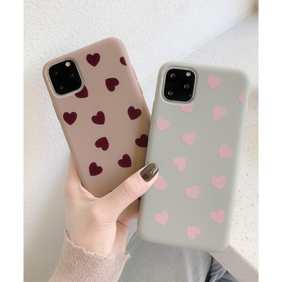 秋新作 ハート柄スマホケース 小物 スマホケース iPhone 7 11 X XS ハート シリコン ソフトレディース韓国ファッション 9