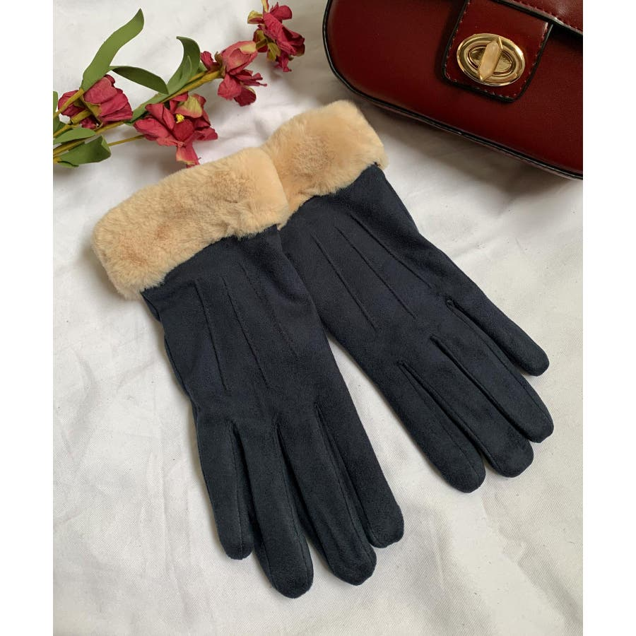 秋新作 ファースエード手袋 手袋 ファー スエード 冬物 コンパクト レディース 韓国ファッション 64