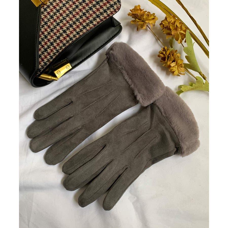 秋新作 ファースエード手袋 手袋 ファー スエード 冬物 コンパクト レディース 韓国ファッション 23
