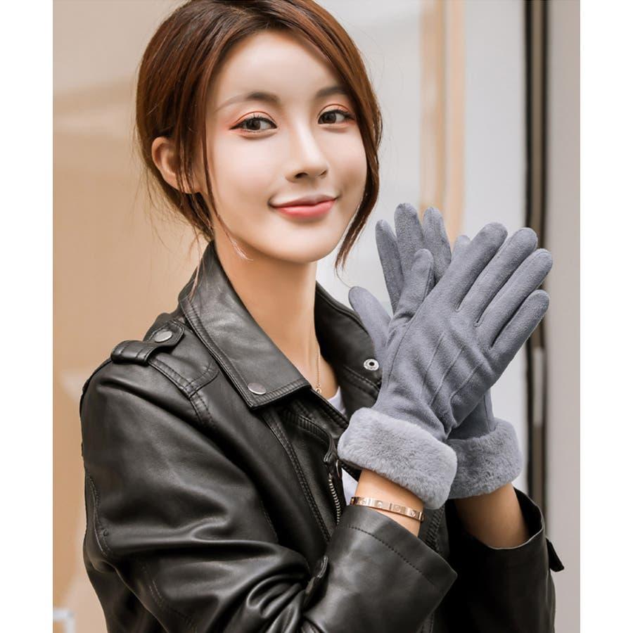 秋新作 ファースエード手袋 手袋 ファー スエード 冬物 コンパクト レディース 韓国ファッション 9