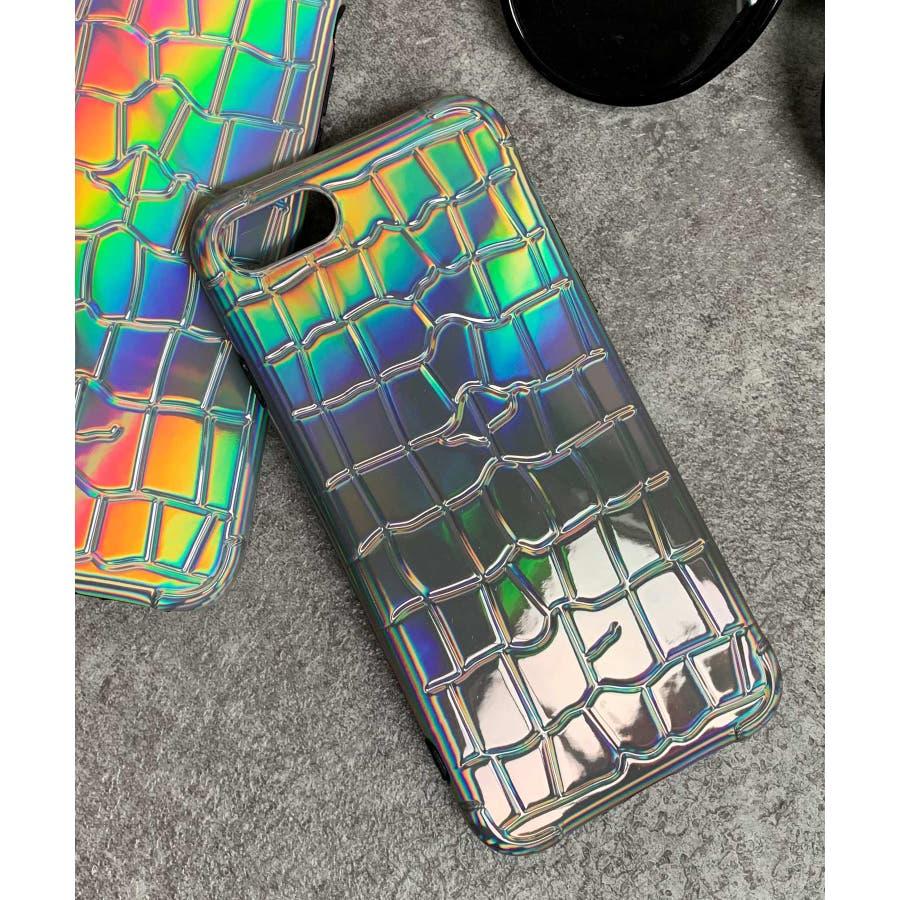 秋新作 オーロラクロコスマホケース ma 小物 スマホケース クロコ オーロラ レインボー iPhone レディース韓国ファッション 108