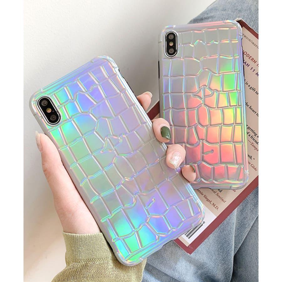 秋新作 オーロラクロコスマホケース ma 小物 スマホケース クロコ オーロラ レインボー iPhone レディース韓国ファッション 6