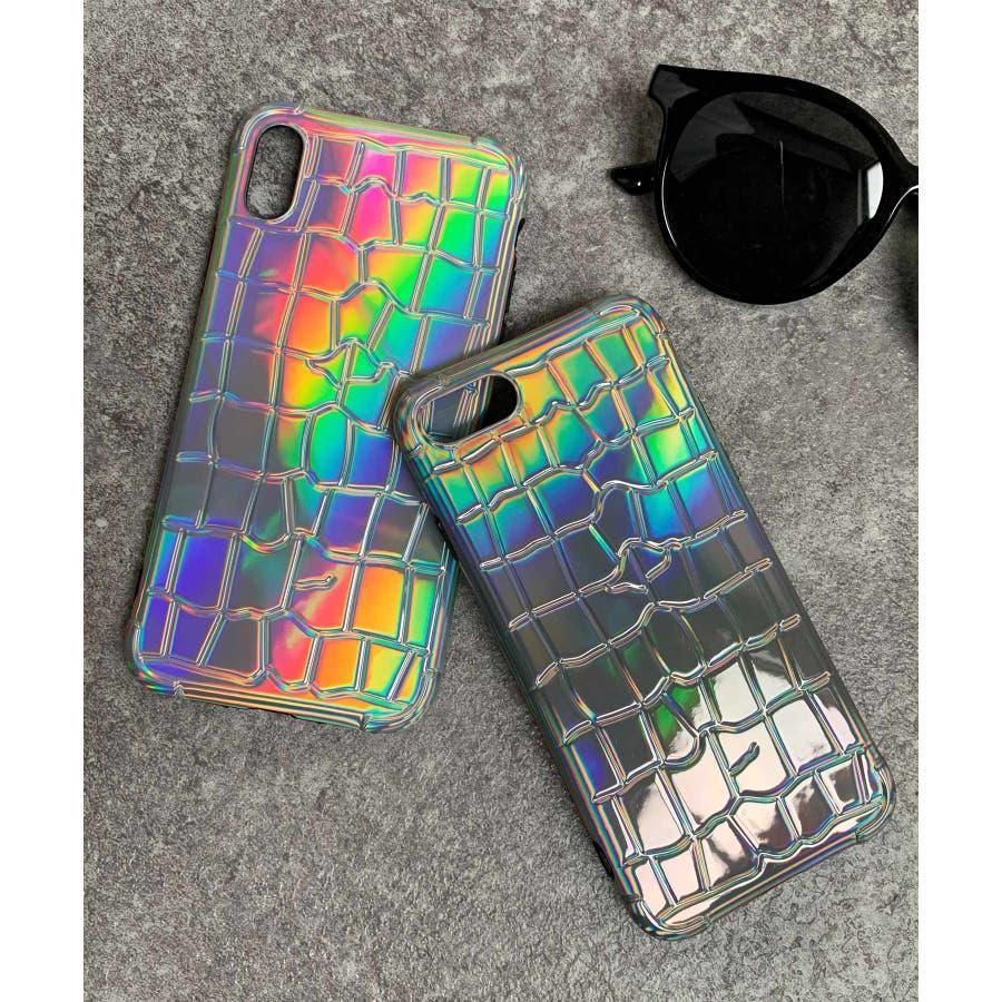 秋新作 オーロラクロコスマホケース ma 小物 スマホケース クロコ オーロラ レインボー iPhone レディース韓国ファッション 8