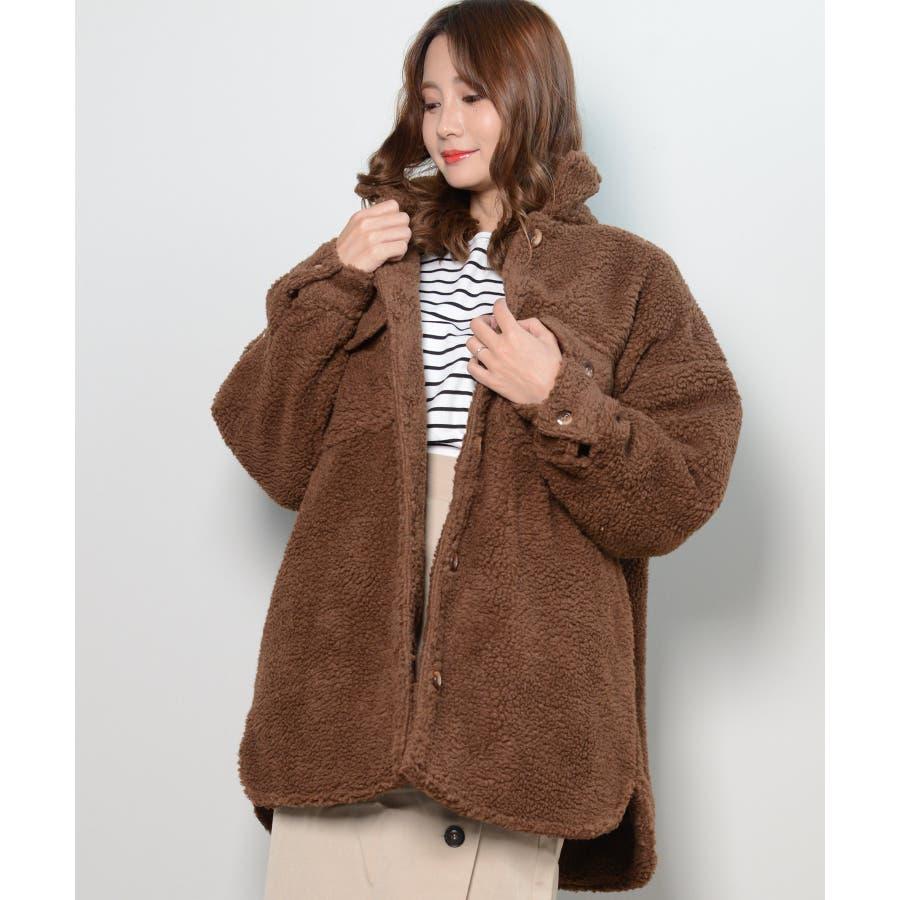 冬新作 ボアCPOジャケット アウター コート CPO ジャケット ボア もこもこ オーバーサイズ レディース 韓国ファッション 4