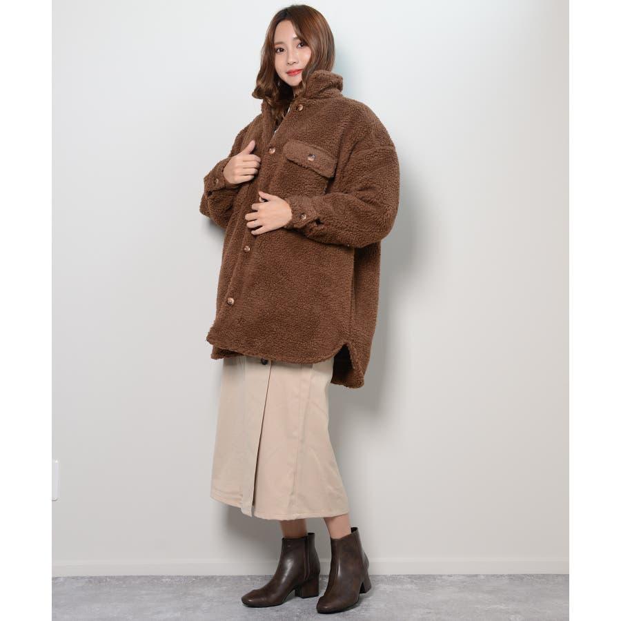 冬新作 ボアCPOジャケット アウター コート CPO ジャケット ボア もこもこ オーバーサイズ レディース 韓国ファッション 6
