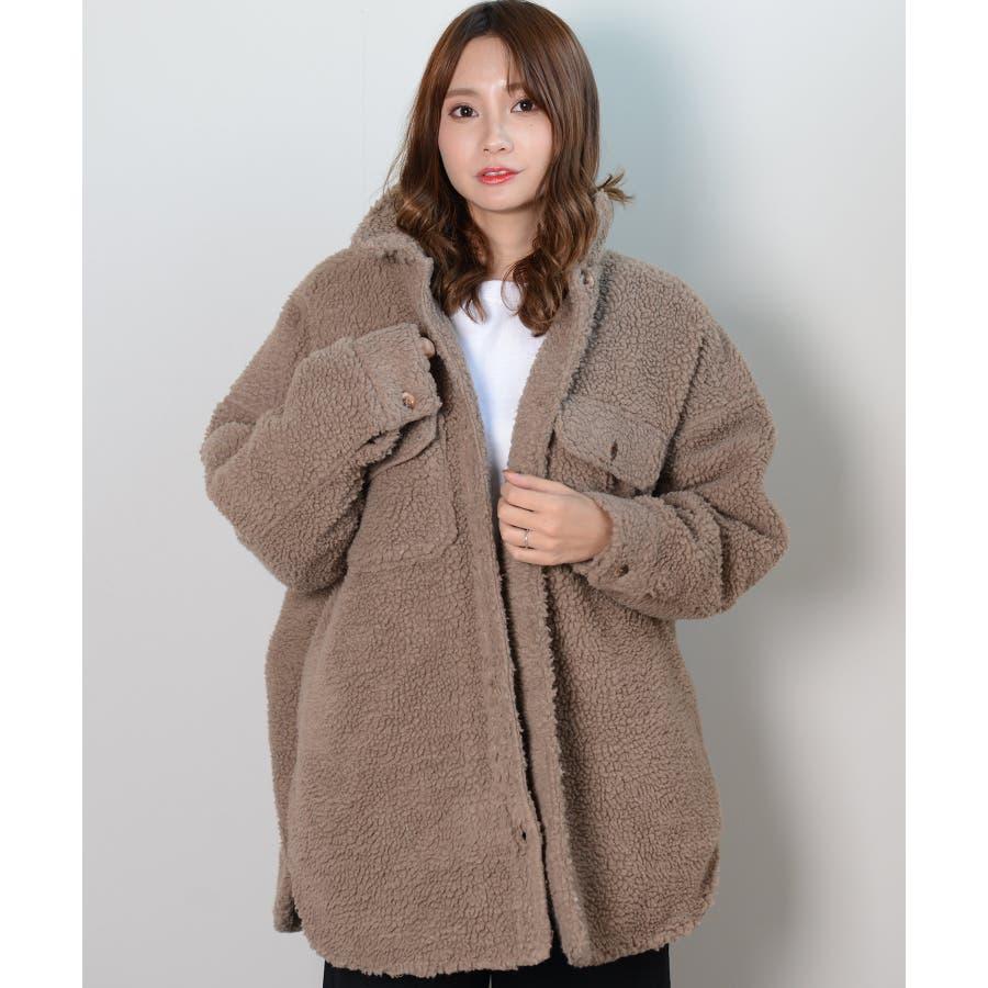 冬新作 ボアCPOジャケット アウター コート CPO ジャケット ボア もこもこ オーバーサイズ レディース 韓国ファッション 8