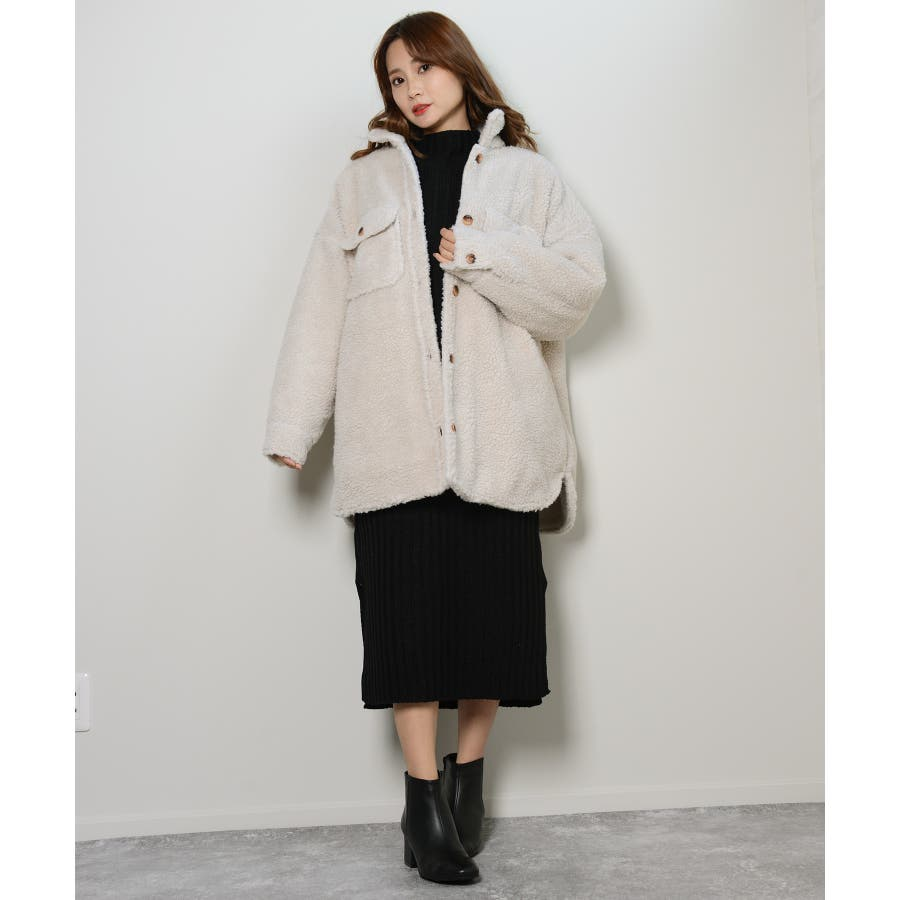 冬新作 ボアCPOジャケット アウター コート CPO ジャケット ボア もこもこ オーバーサイズ レディース 韓国ファッション 18