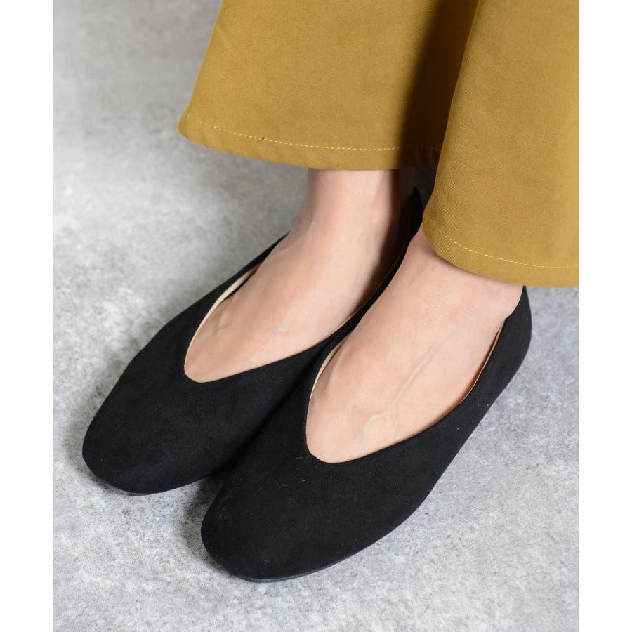 秋新作 スクエアトゥフラットパンプス シューズ 靴 フラット パンプス スクエアトゥ Vカット スエード ボア あったかレディース韓国ファッション 21