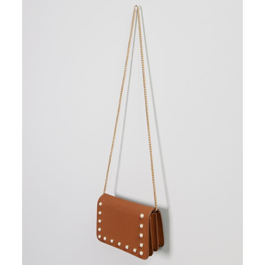秋新作 パールショルダーバッグ 鞄 バッグ ショルダー チェーン パール 上品 カジュアル シンプル コンパクト 韓国ファッションレディース 4