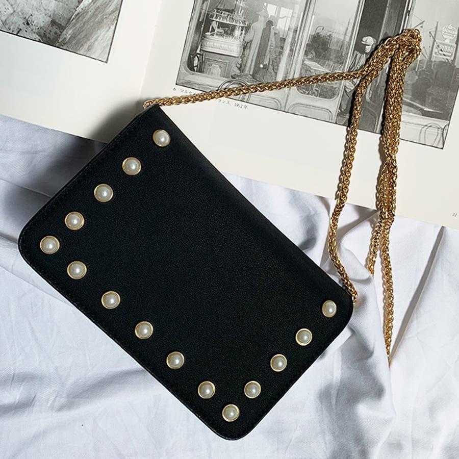 秋新作 パールショルダーバッグ 鞄 バッグ ショルダー チェーン パール 上品 カジュアル シンプル コンパクト 韓国ファッションレディース 8