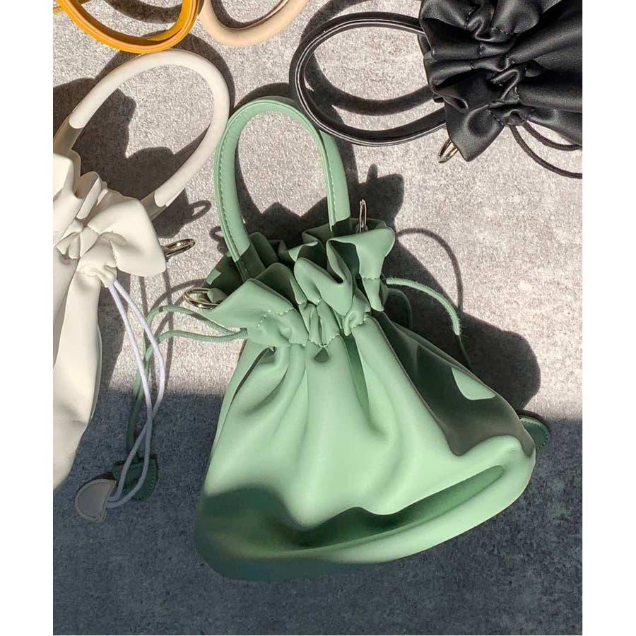 秋新作 スムース巾着ポーチ ma バッグ 鞄 ショルダー 巾着 レザー調 マット ポーチ ハンド シンプル レディース韓国ファッション 2