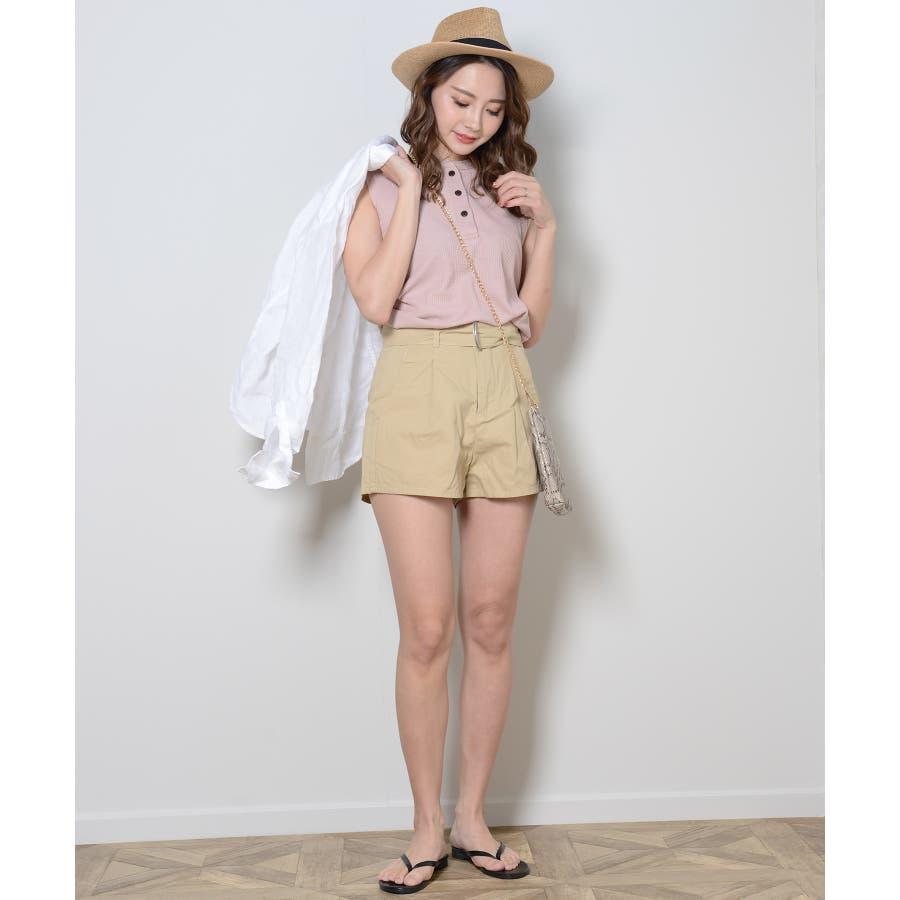 秋新作 ツイルショートパンツ シンプル ツイル型 ショートパンツ トレンド レディース 韓国ファッション 流行 3