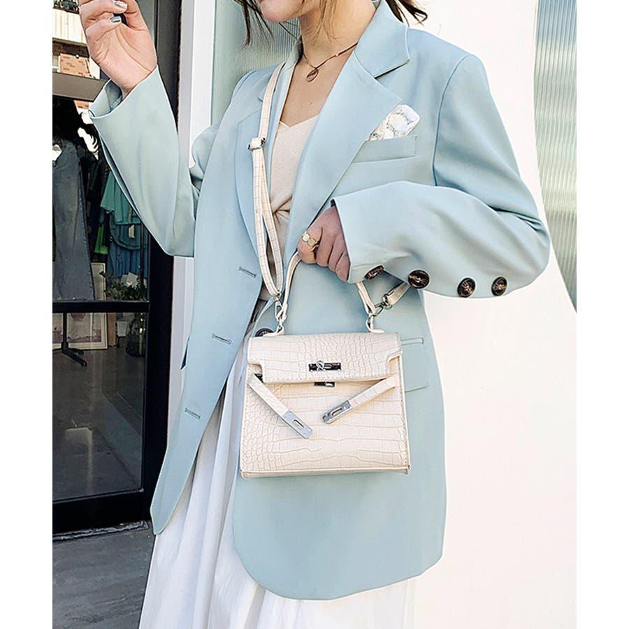 秋新作 クロコスクエアバッグ バッグ ハンドバッグ ショルダー 鞄 アニマル クロコ 個性的 トレンド 韓国ファッション レディース 4