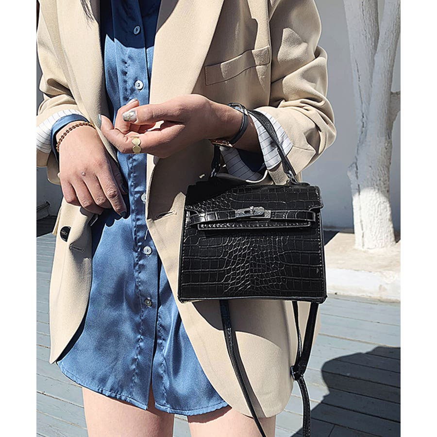 秋新作 クロコスクエアバッグ バッグ ハンドバッグ ショルダー 鞄 アニマル クロコ 個性的 トレンド 韓国ファッション レディース 7