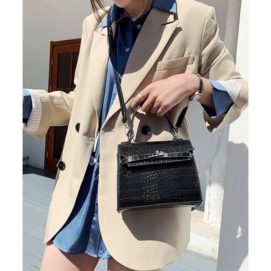 秋新作 クロコスクエアバッグ バッグ ハンドバッグ ショルダー 鞄 アニマル クロコ 個性的 トレンド 韓国ファッション レディース 8