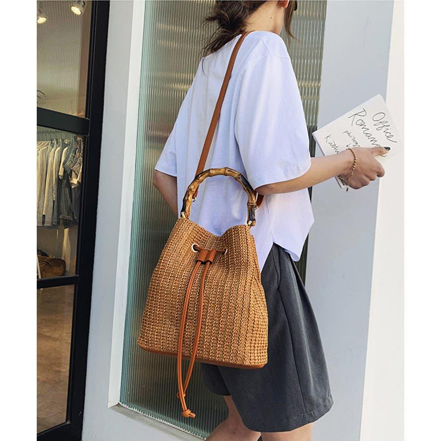 秋新作 巾着カゴバッグ シンプル 巾着 カゴ バッグ トレンド レディース 韓国ファッション 流行 3