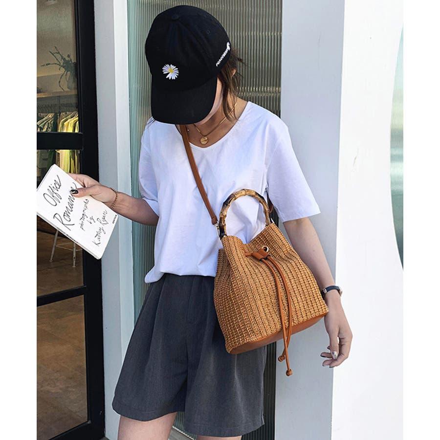 秋新作 巾着カゴバッグ シンプル 巾着 カゴ バッグ トレンド レディース 韓国ファッション 流行 4