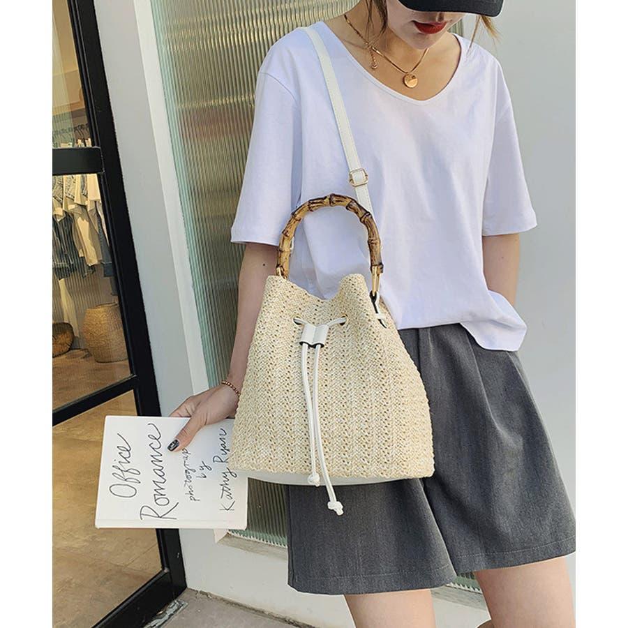 秋新作 巾着カゴバッグ シンプル 巾着 カゴ バッグ トレンド レディース 韓国ファッション 流行 6