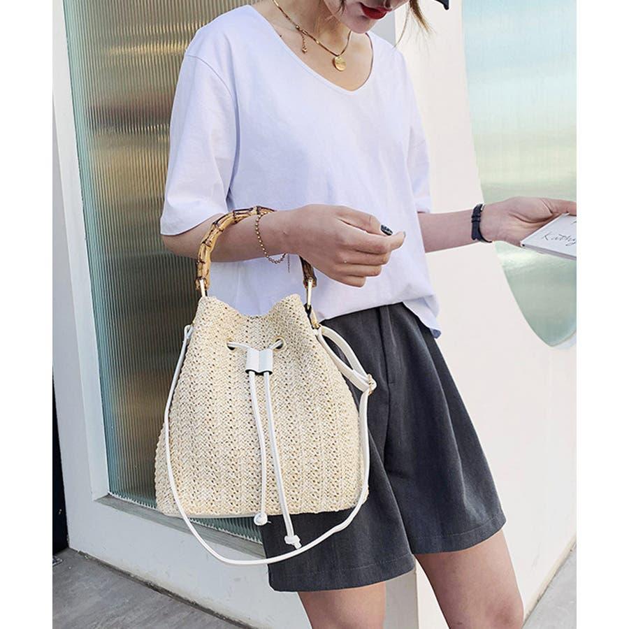 秋新作 巾着カゴバッグ シンプル 巾着 カゴ バッグ トレンド レディース 韓国ファッション 流行 7