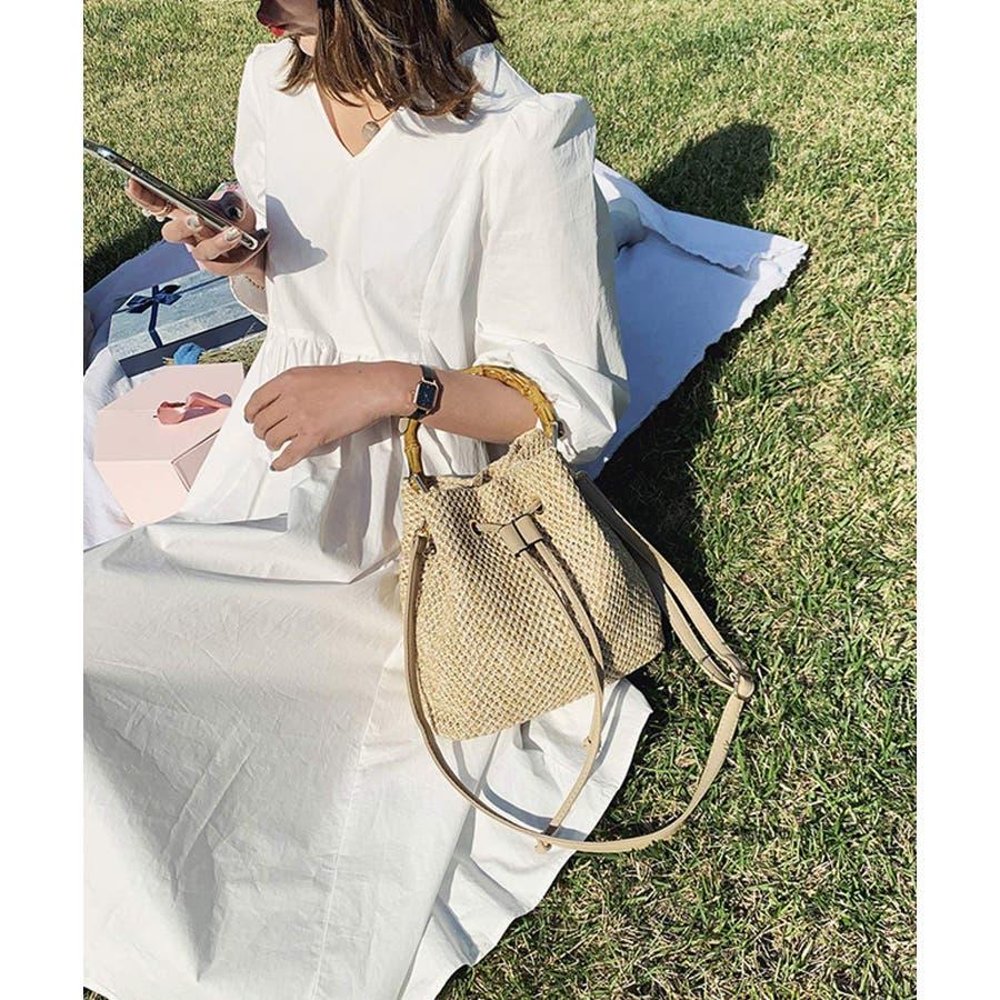 秋新作 巾着カゴバッグ シンプル 巾着 カゴ バッグ トレンド レディース 韓国ファッション 流行 9