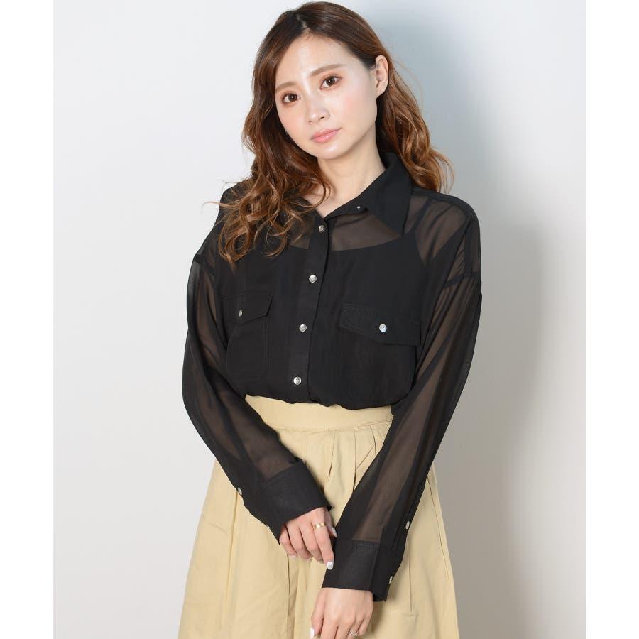 秋新作 シースルーカラーシャツ シンプル シースルー カラー シャツ ブラウス トレンド レディース 韓国ファッション 流行 21