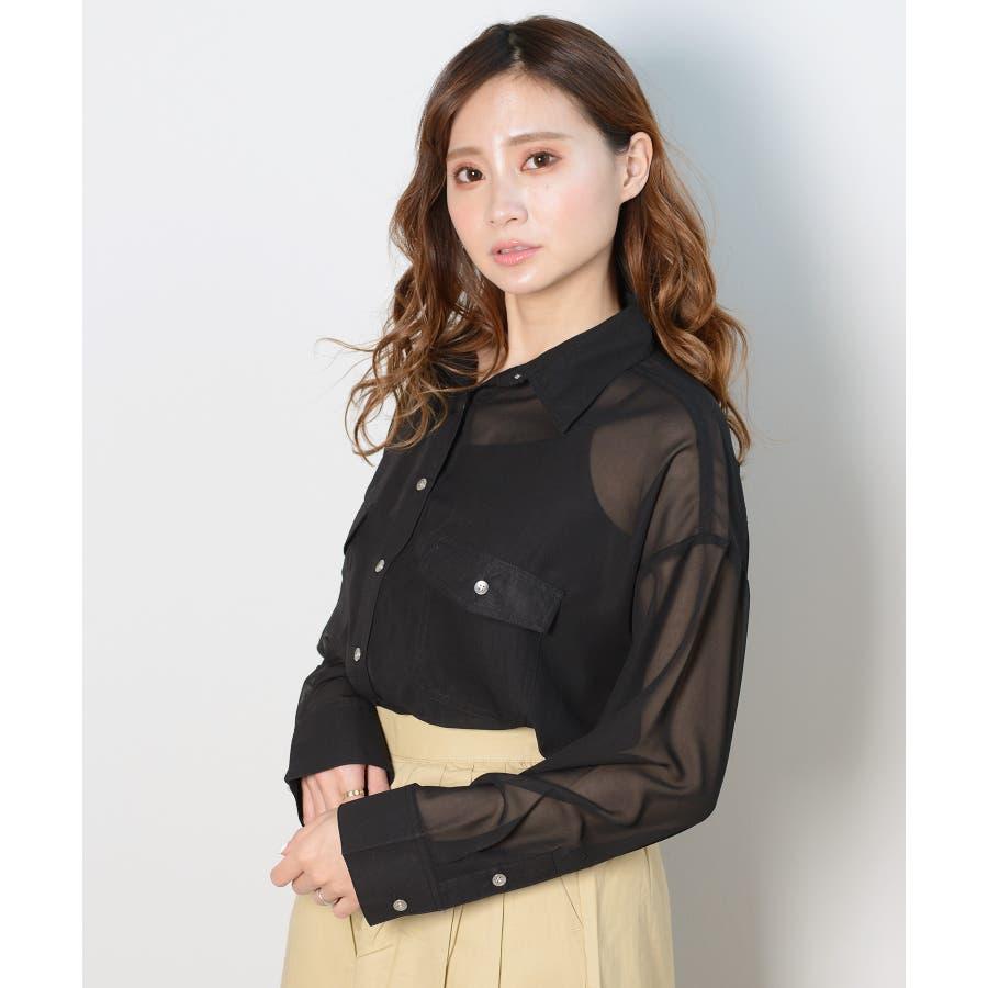 秋新作 シースルーカラーシャツ シンプル シースルー カラー シャツ ブラウス トレンド レディース 韓国ファッション 流行 3