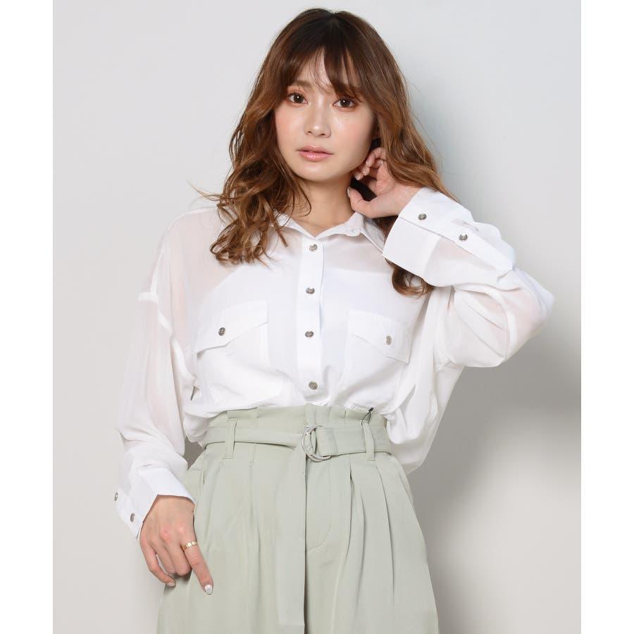 秋新作 シースルーカラーシャツ シンプル シースルー カラー シャツ ブラウス トレンド レディース 韓国ファッション 流行 16