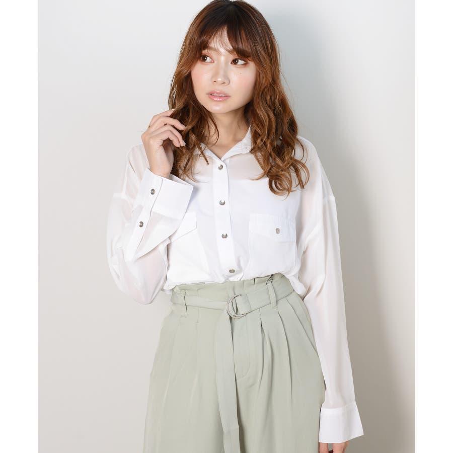 秋新作 シースルーカラーシャツ シンプル シースルー カラー シャツ ブラウス トレンド レディース 韓国ファッション 流行 8