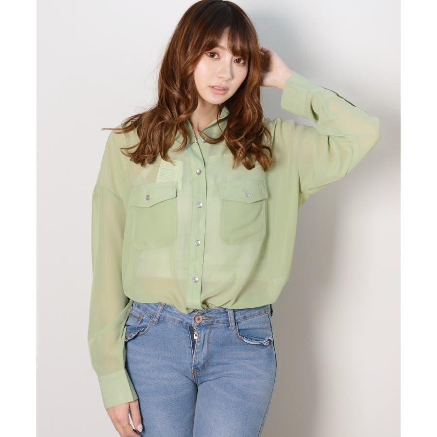 秋新作 シースルーカラーシャツ シンプル シースルー カラー シャツ ブラウス トレンド レディース 韓国ファッション 流行 47
