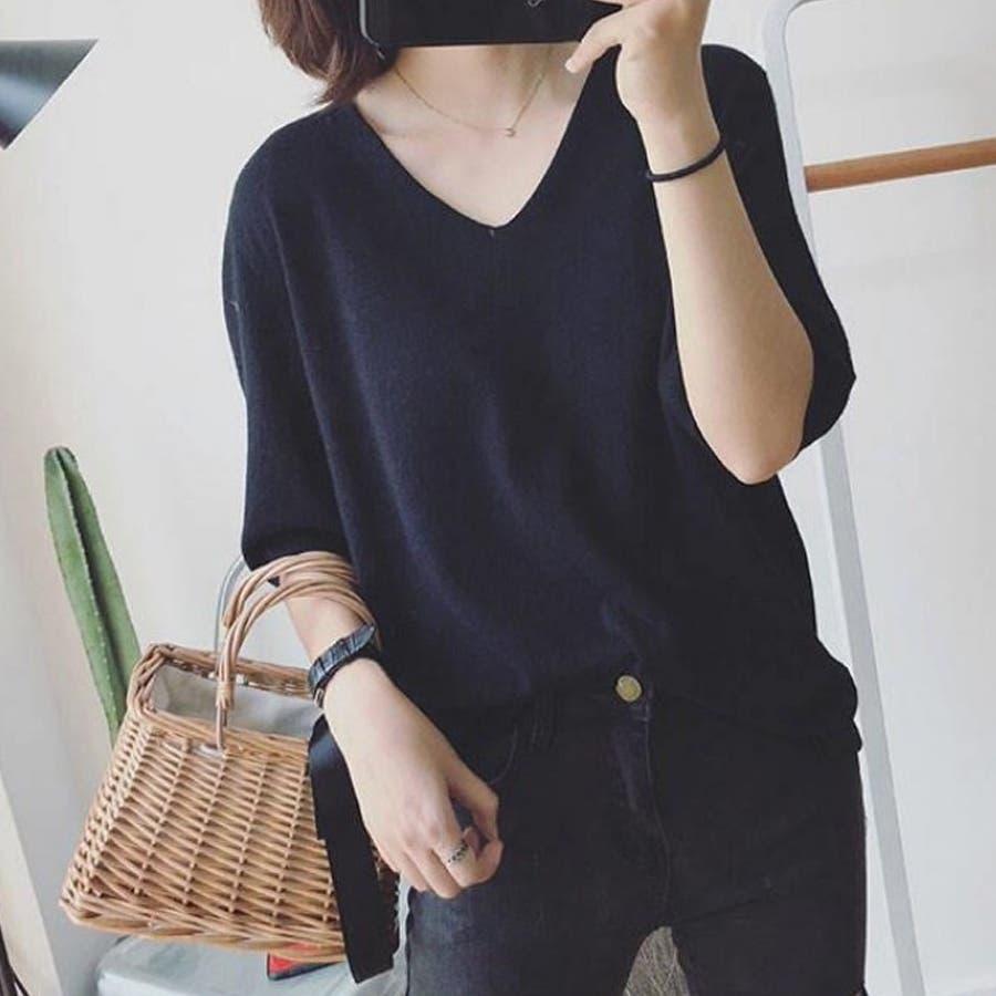 ニット レディース 半袖 Tシャツ 着痩せ 無地 韓国ファッション 人気 シンプル ゆったり 薄手 着回し フリーサイズ 21