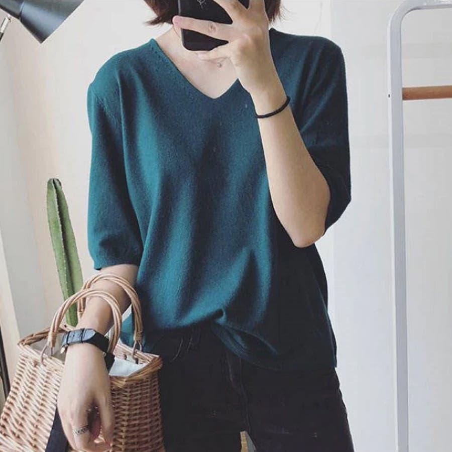 ニット レディース 半袖 Tシャツ 着痩せ 無地 韓国ファッション 人気 シンプル ゆったり 薄手 着回し フリーサイズ 47
