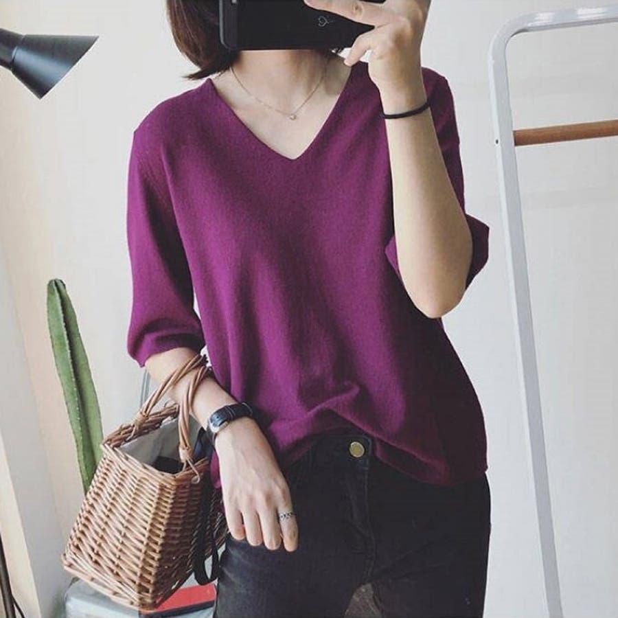 ニット レディース 半袖 Tシャツ 着痩せ 無地 韓国ファッション 人気 シンプル ゆったり 薄手 着回し フリーサイズ 77