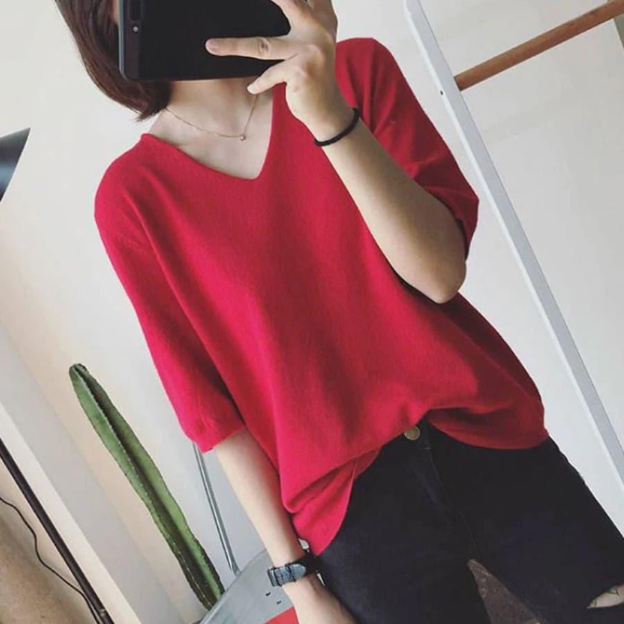 ニット レディース 半袖 Tシャツ 着痩せ 無地 韓国ファッション 人気 シンプル ゆったり 薄手 着回し フリーサイズ 94